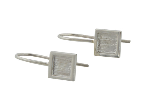 Square or Diamond Shaped Earrings, Sterling Silver
