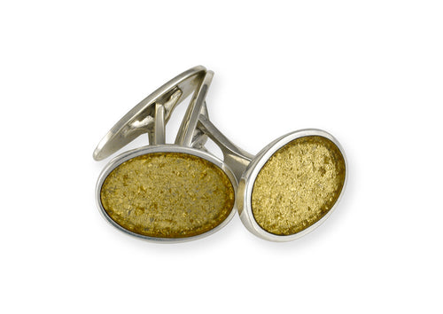24ct Gold Leaf Oval Cufflinks, Sterling Silver