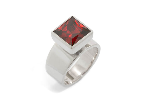 Square Chimney Gemstone Ring, Sterling Silver