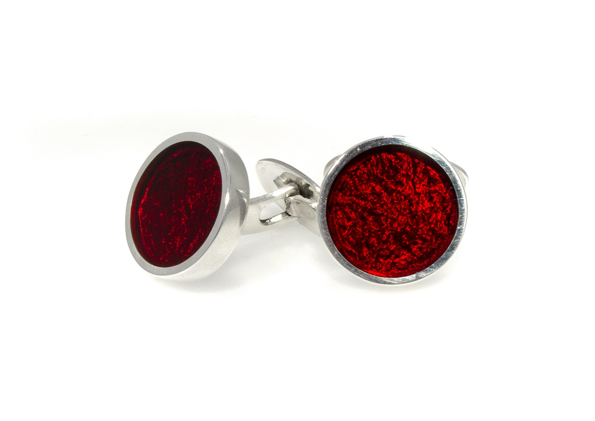 Round Resin Cufflinks, Sterling Silver