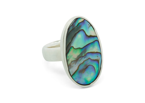 Paua Shell Oval Ring, Sterling Silver