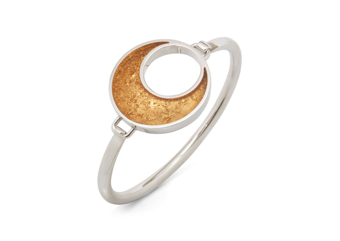 24ct Gold Leaf Crescent Moon Bangle, Sterling Silver