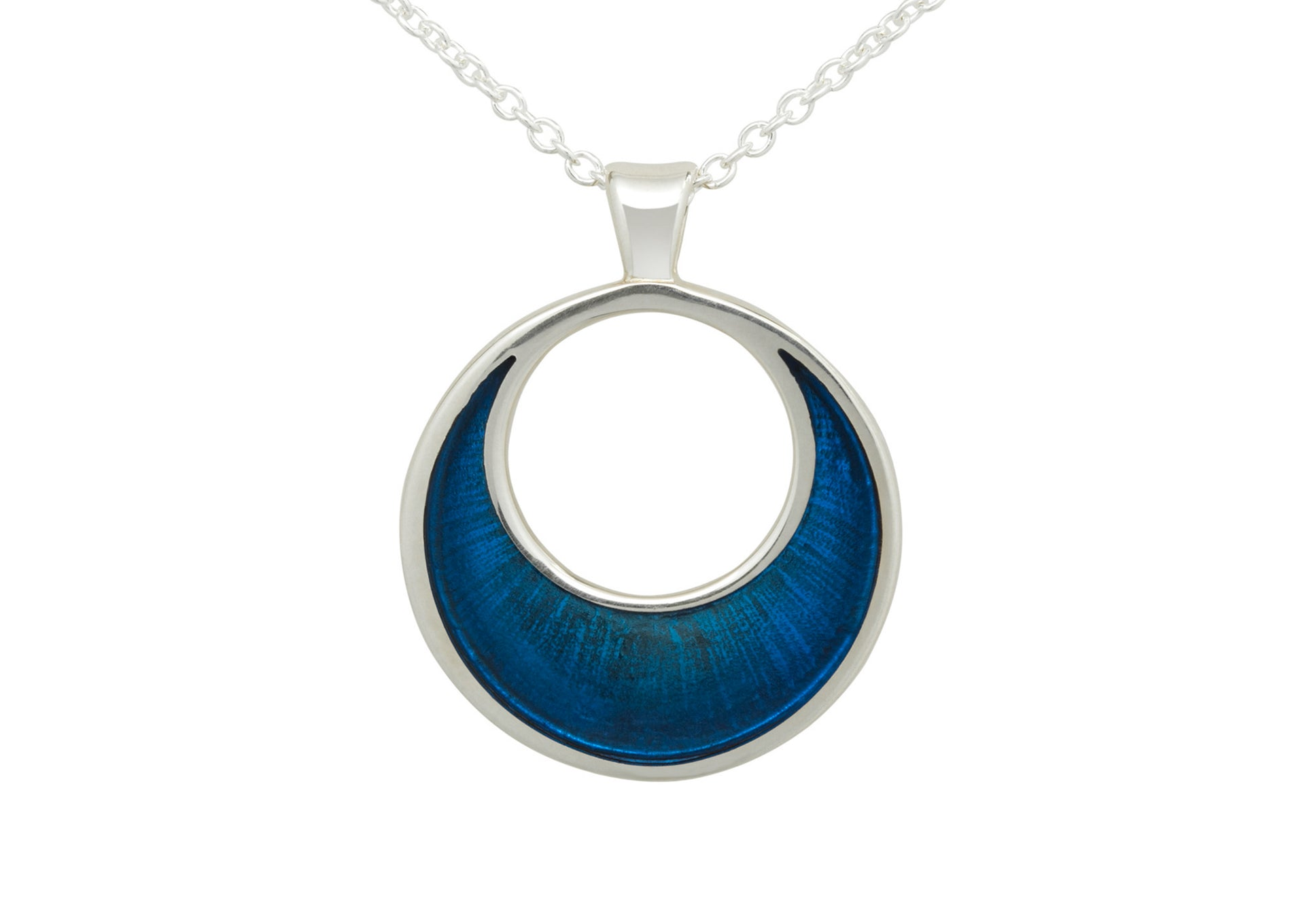 Crescent Moon Resin Pendant, Sterling Silver