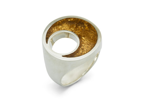 24ct Gold Leaf Crescent Moon Ring, Sterling Silver