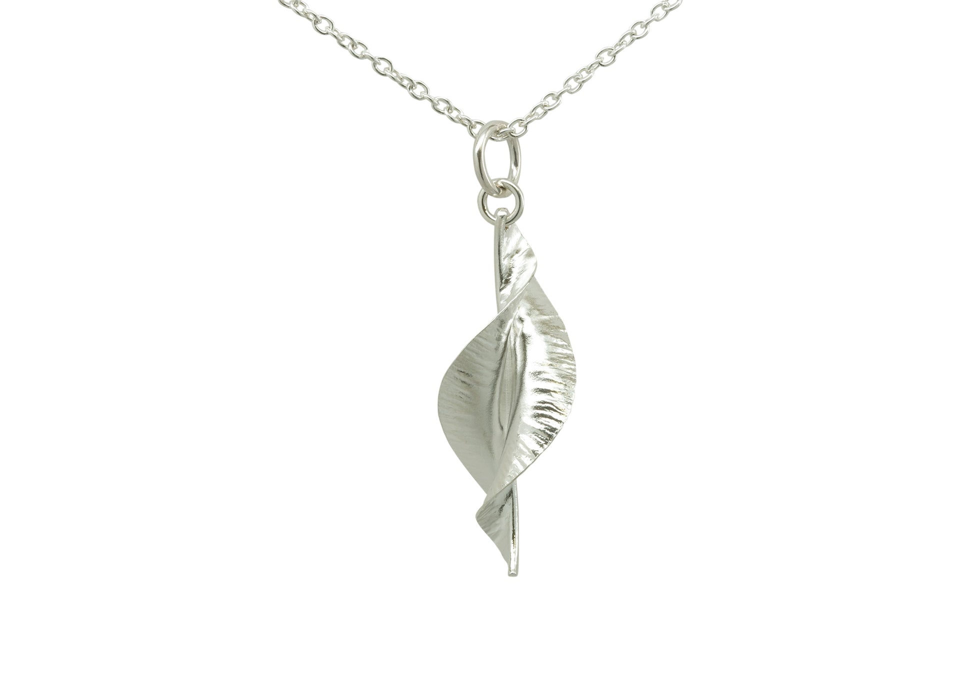Pure Silver Spring Leaf Pendant