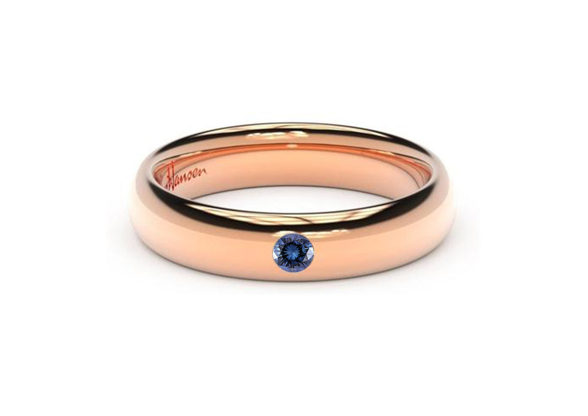 Sleek Gemstone Ring, Red Gold