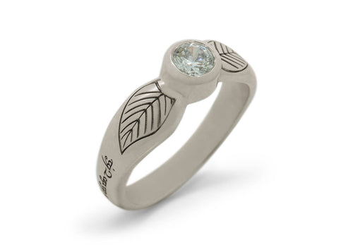 Engraved Elven Ring, White Gold & Platinum