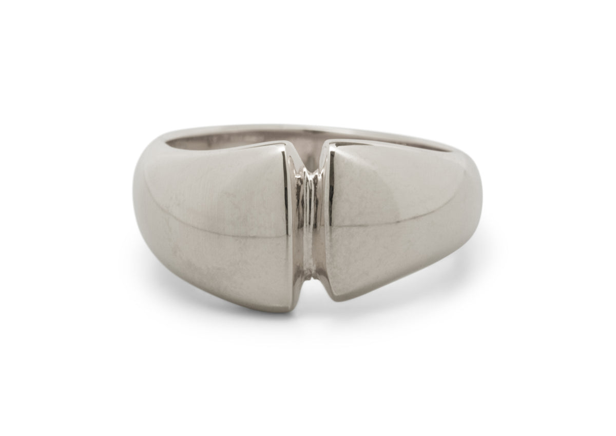 Geometric Dome Ring, White Gold & Platinum