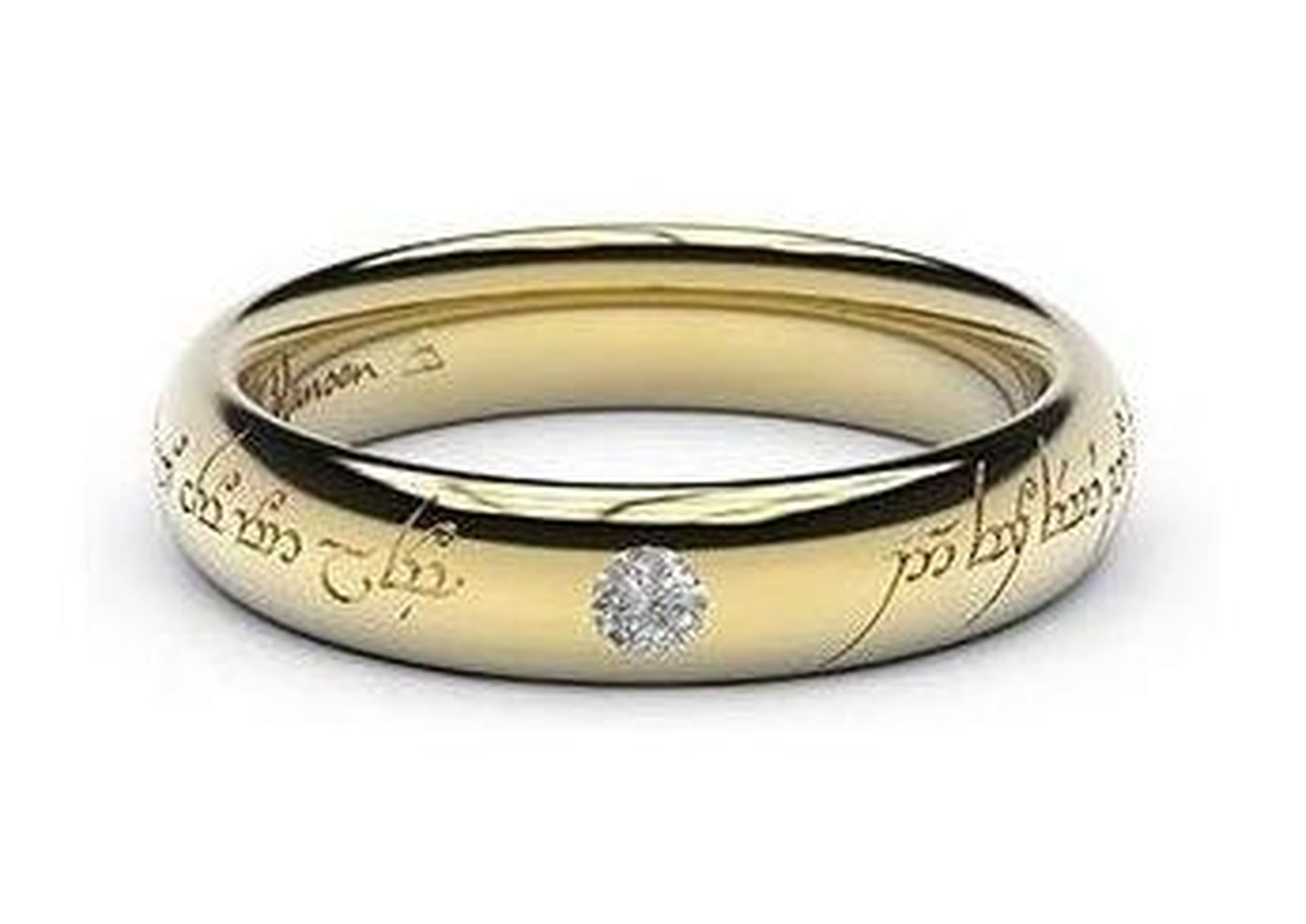 Sleek Elvish Engagement Ring, ~.10ct 9ct Yellow Gold