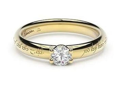 Petite Contemporary Elvish Engagement Ring, ~.33ct  22ct Yellow Gold