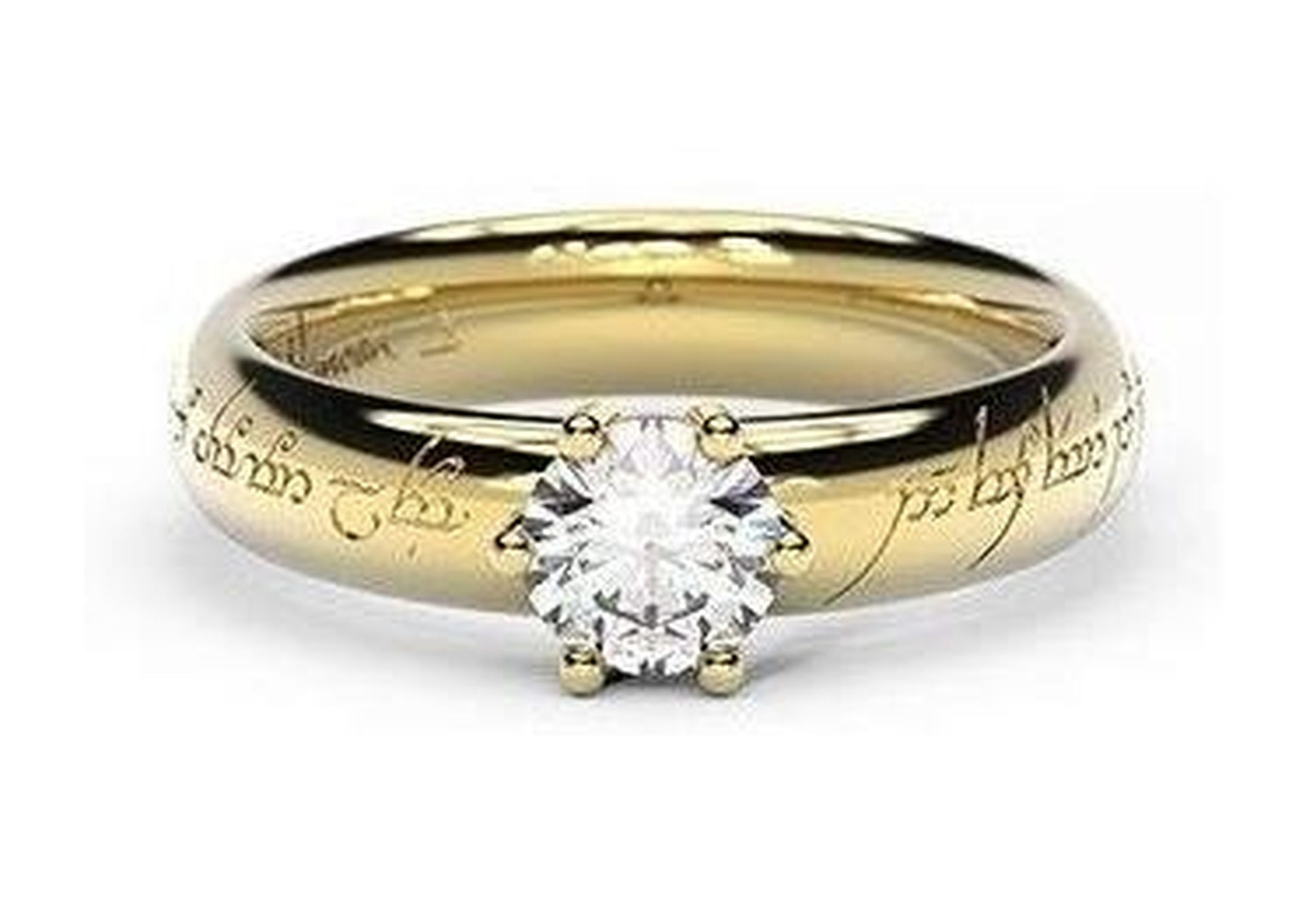 Classic Elvish Engagement Ring, ~.50ct 9ct Yellow Gold