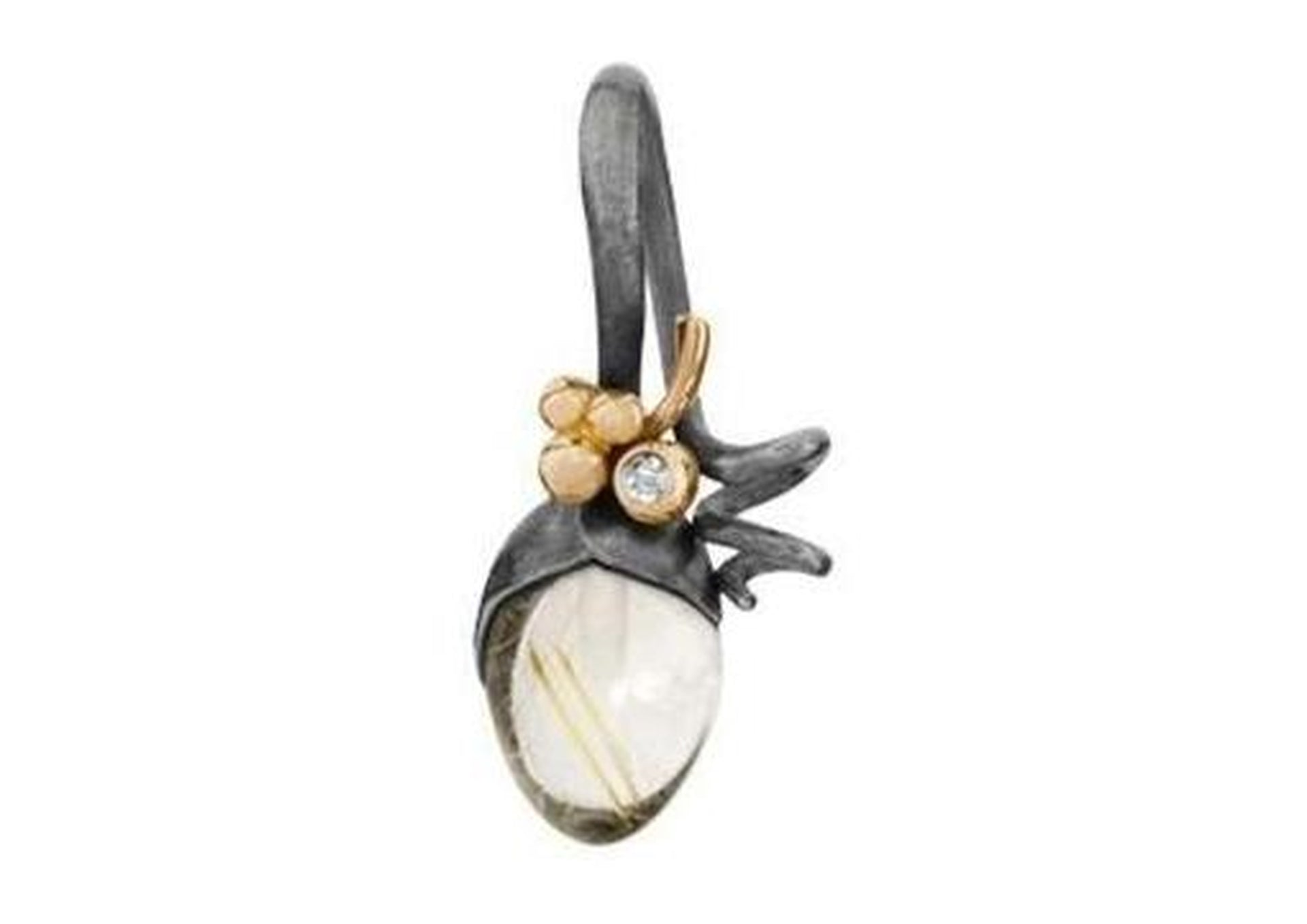 Lotus pendant in gold and silver with rutile quartz and diamonds TW.VS-by-Ole Lynggaard-from official stockist-Jens Hansen