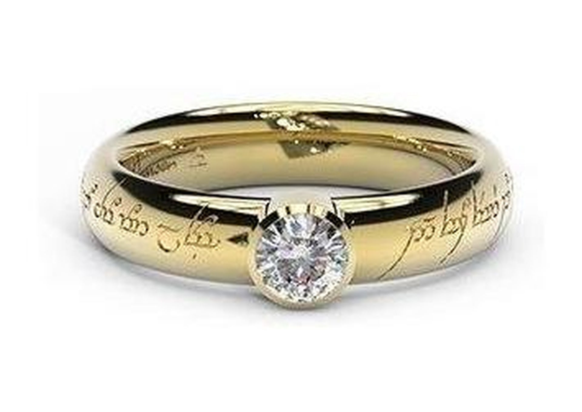 Modern Elvish Engagement Ring, ~.33ct 14ct Yellow Gold