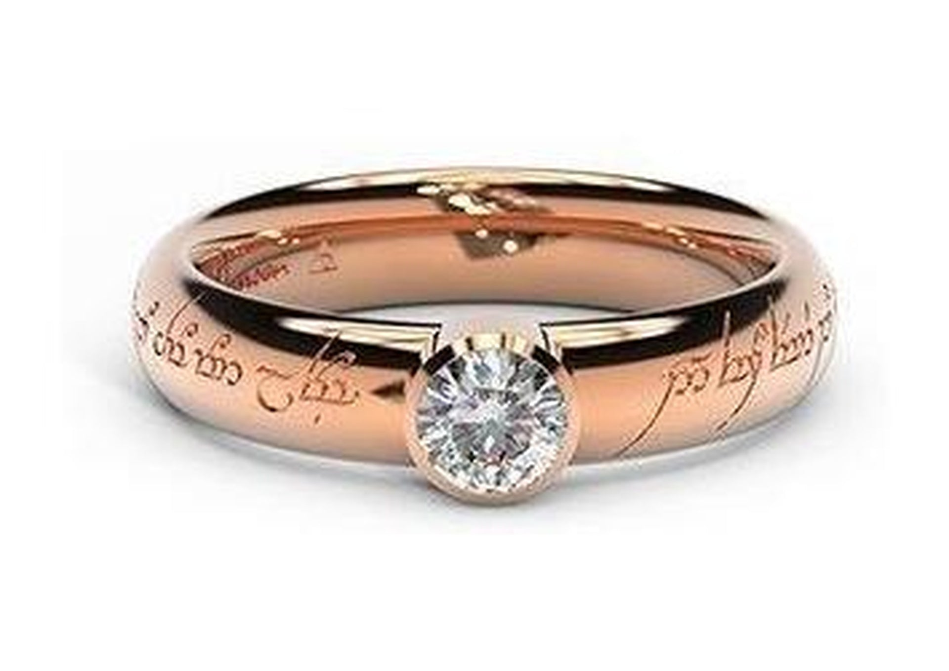 Modern Elvish Engagement Ring, ~.33ct 18ct Red Gold