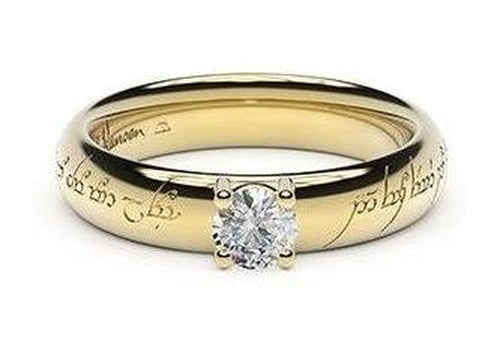 Contemporary Elvish Engagement Ring, ~.33ct 9ct Yellow Gold
