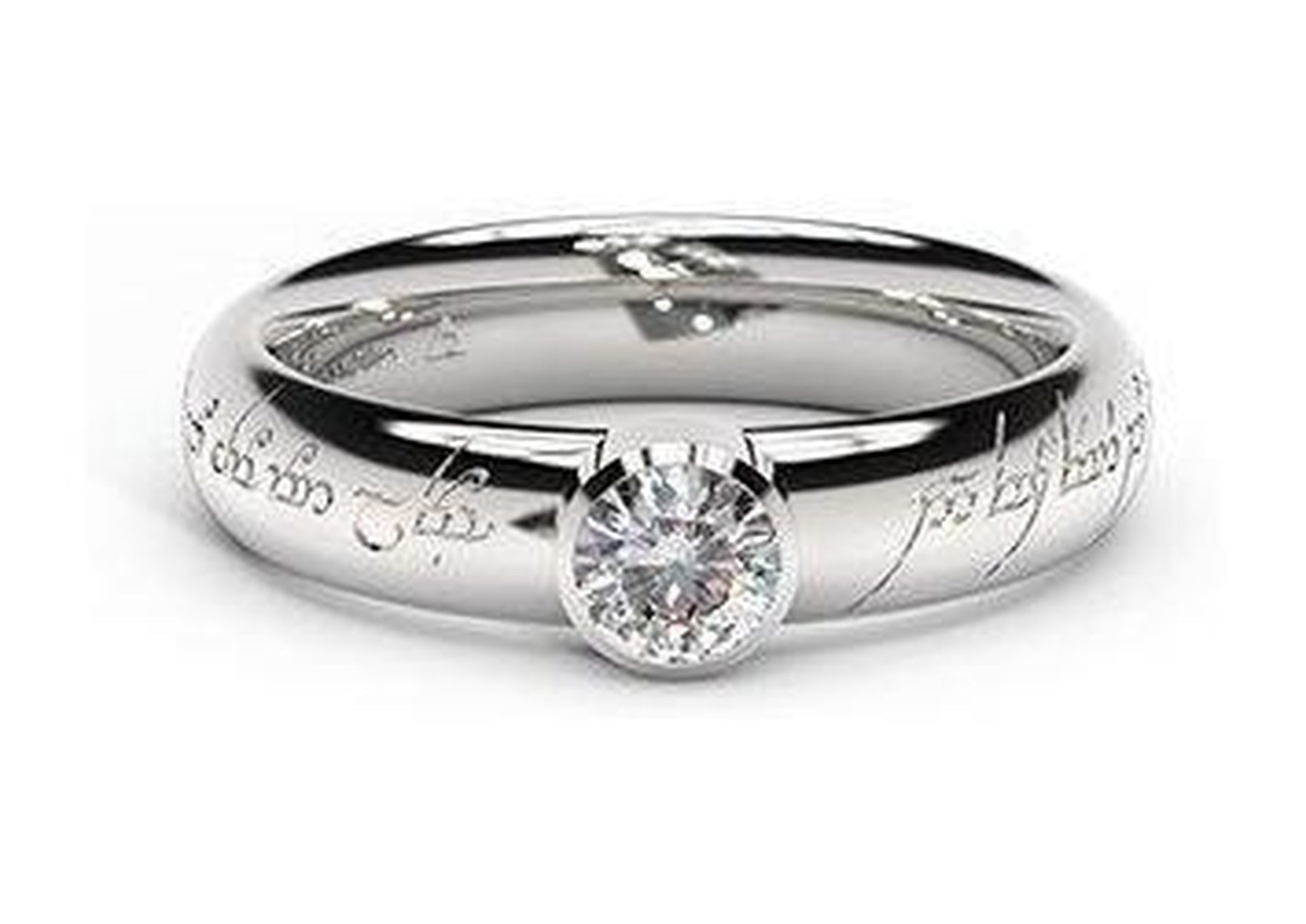 Modern Elvish Engagement Ring, ~.33ct 14ct White Gold