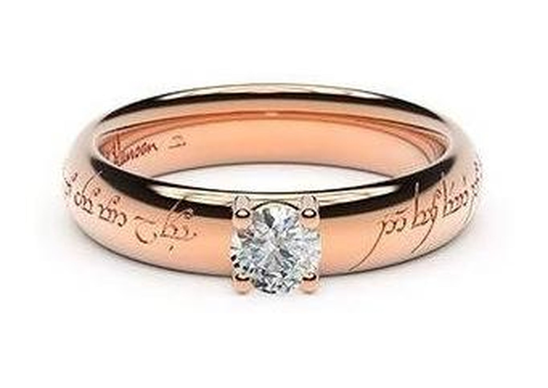 Contemporary Elvish Engagement Ring, ~.33ct 14ct Red Gold