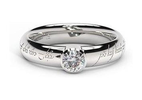 Modern Elvish Engagement Ring, ~.33ct Platinum