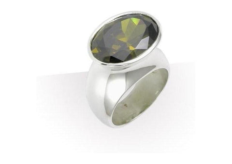 Silver Dress Ring Dark Olive CZ   - Jens Hansen
