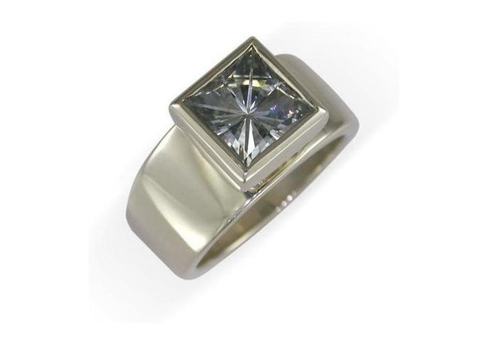 14ct White Gold & Moissanite Ring   - Jens Hansen