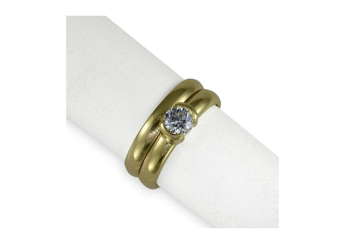 18ct Gold & Diamond Solitaire Ring Set   - Jens Hansen
