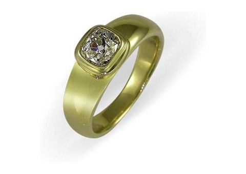 18ct Gold & Cushion Diamond Ring   - Jens Hansen