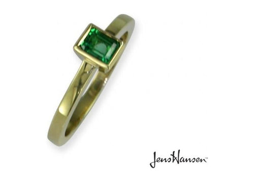 18ct Gold Ring with Rectangle cut Emerald   - Jens Hansen