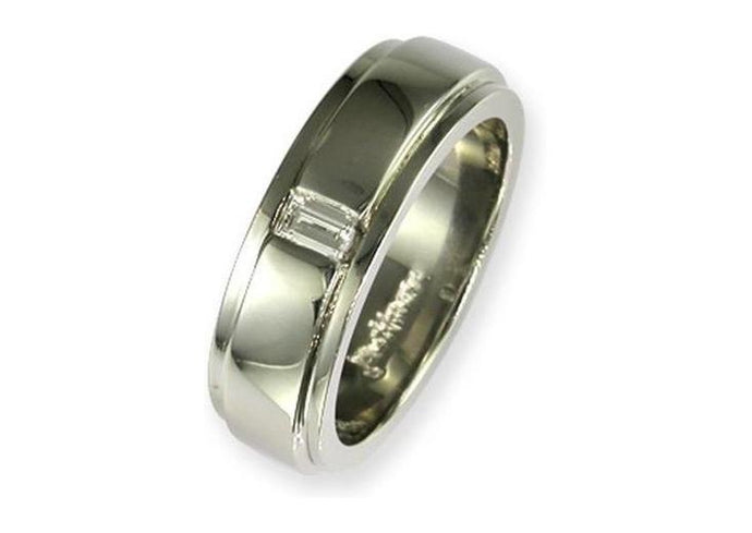 Platinum & Diamond Mens Wedding ring   - Jens Hansen