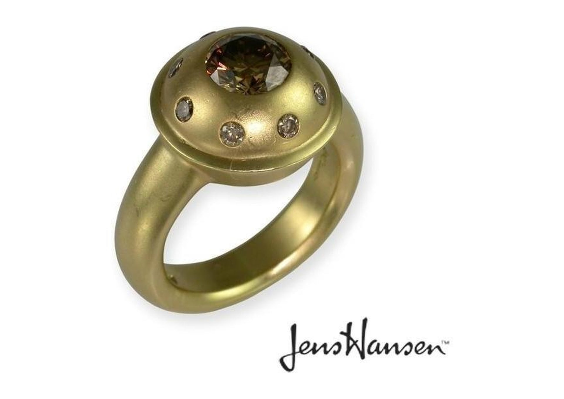 18ct Jens Hansen Ring set with Customers Pendant.   - Jens Hansen