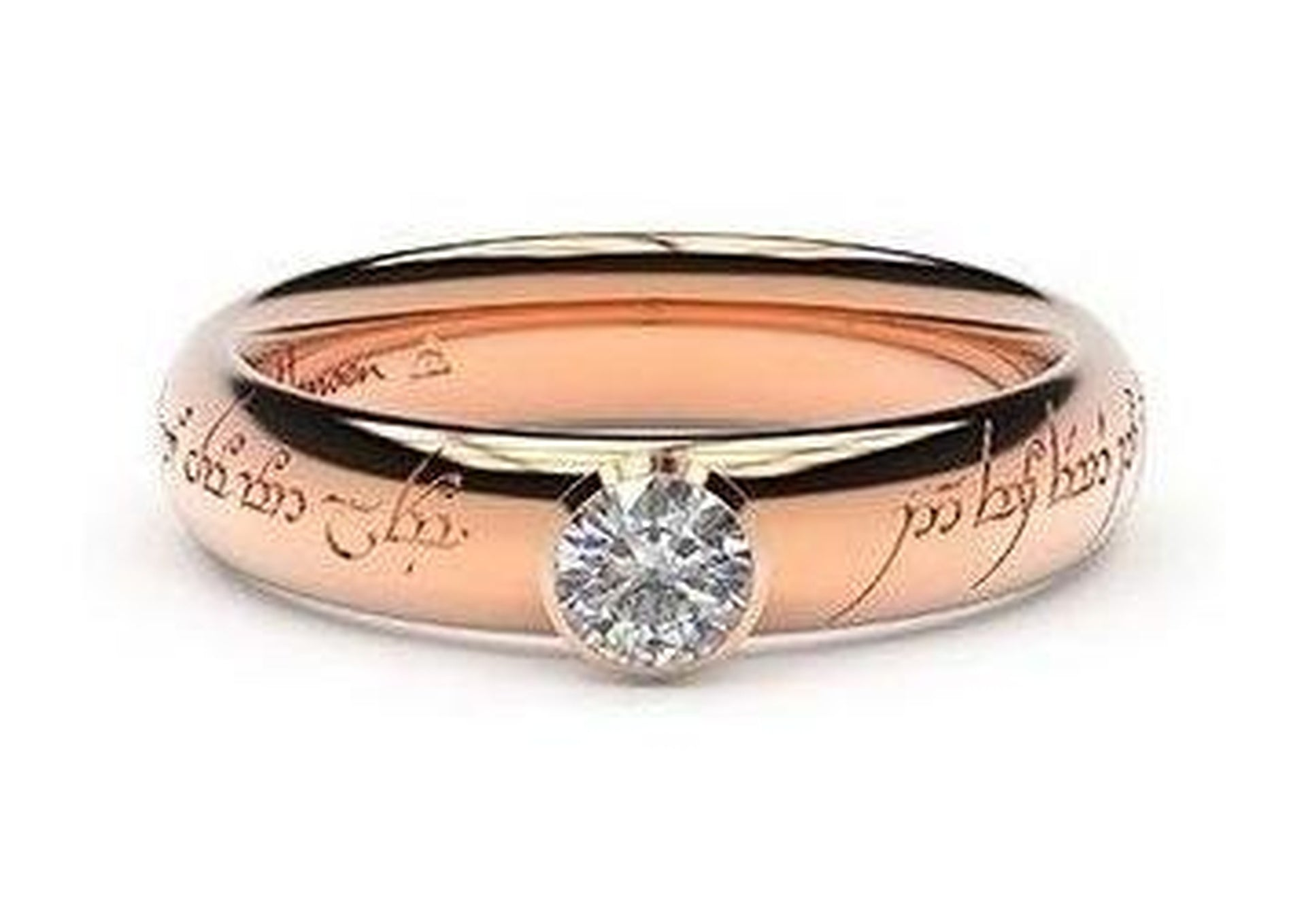 Elegant Elvish Engagement Ring, ~.33ct 14ct Red Gold