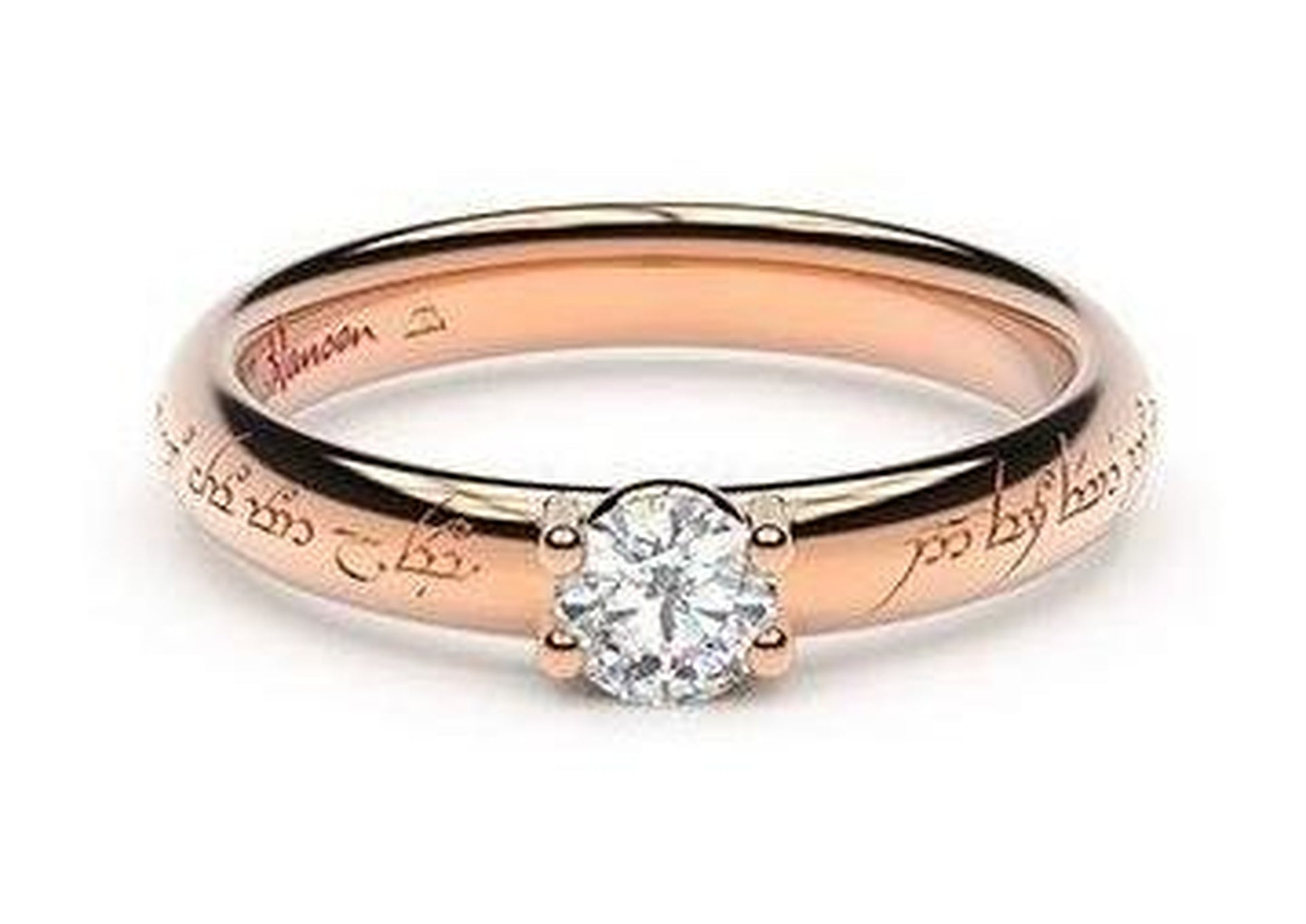 Petite Contemporary Elvish Engagement Ring, ~.33ct 14ct Red Gold