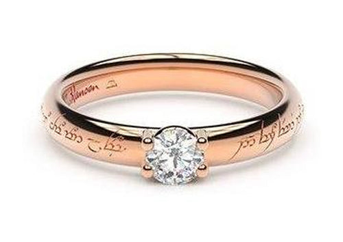 Petite Contemporary Elvish Engagement Ring, ~.33ct 9ct Red Gold