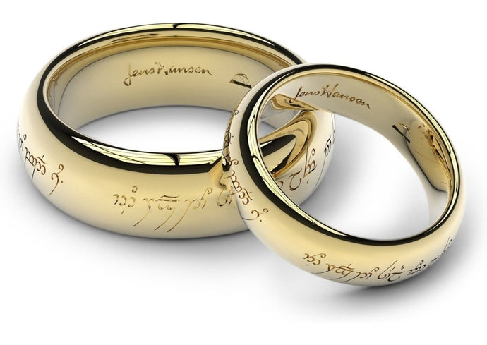 engraving custom sided single ring wedding set laser jens gold img engraved hansen yellow products elvish rings