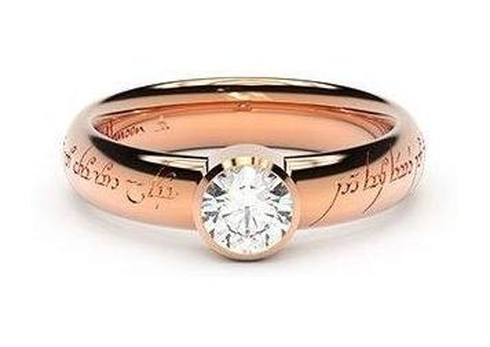 Modern Elvish Engagement Ring, ~.50ct 18ct Red Gold