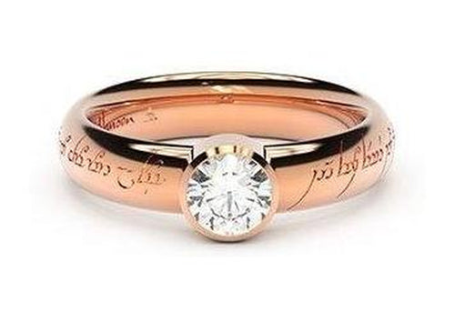 Modern Elvish Engagement Ring, ~.50ct 9ct Red Gold