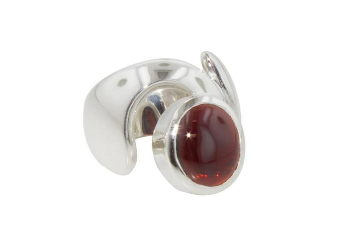 Cabochon Gemstone in Keyhole Design, Sterling Silver