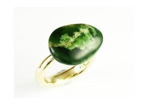 9ct Gold Green Stone Ring   - Jens Hansen