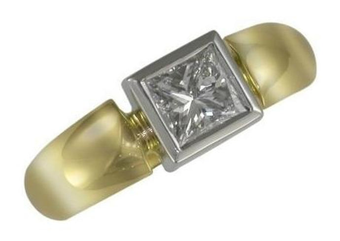 18ct yellow gold and platinum diamond ring   - Jens Hansen