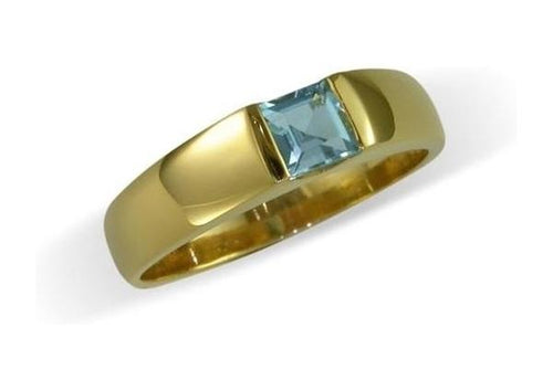 9ct yellow gold and princess cut aquamarine Ring   - Jens Hansen