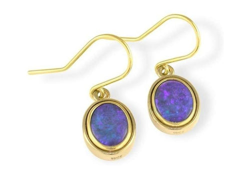 18ct Opal Hook Earrings   - Jens Hansen