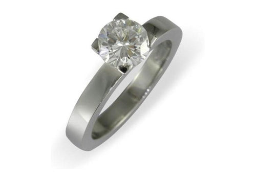 Four prong 950 Platinum solitaire engagement ring   - Jens Hansen
