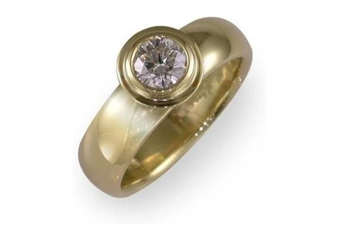 Diamond solitaire in 18ct Yellow gold   - Jens Hansen