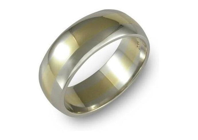 18ct yellow and white gold wedding band   - Jens Hansen