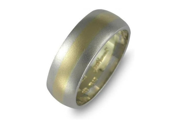 18t yellow gold and platinum wedding band   - Jens Hansen
