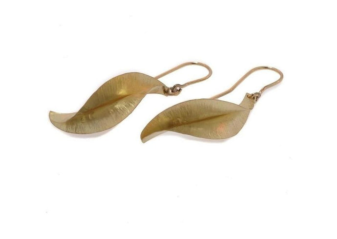 Handcrafted Gold Autumn Leaf Earrings   - Jens Hansen