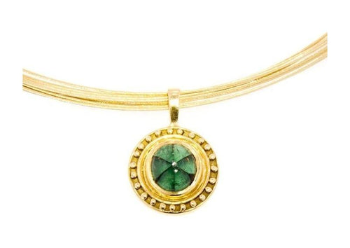 18ct Pendant with a Trapiche Emerald   - Jens Hansen