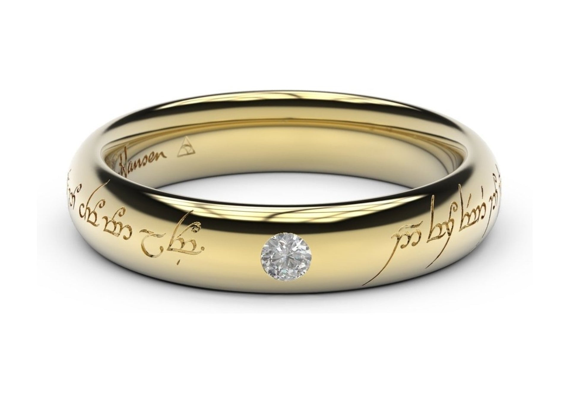 Sleek Elvish Engagement Ring, ~.10ct 14ct Yellow Gold   - Jens Hansen