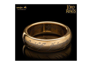 The Lord of the Rings: The One Ring: Gold Plated Tungsten Carbide (with Elvish runes)   - Jens Hansen - 1