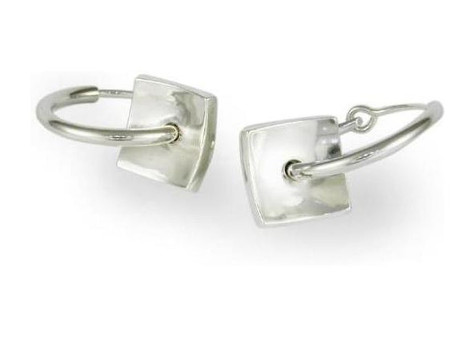 Silver Square Domed Hoop Earrings   - Jens Hansen