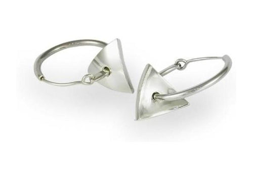 Silver Domed Triangle Hoop Earrings   - Jens Hansen